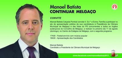 Autárquicas 2013: Manoel Batista (PS) apresenta publicamente candidatura