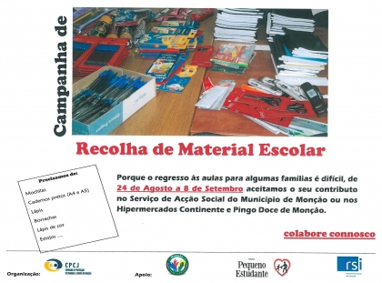 Campanha de recolha de material escolar regressa às superfícies comerciais do concelho