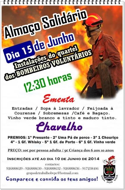 Bombeiros de Paredes de Coura promovem almoço solidário no dia 15 de Junho