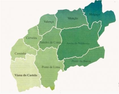 mapa minho Freguesias: Maiores concelhos do Alto Minho divididos na  mapa minho