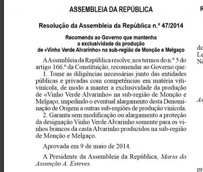 Alvarinho: Resolução que recomenda exclusividade publicada hoje em Diário da República